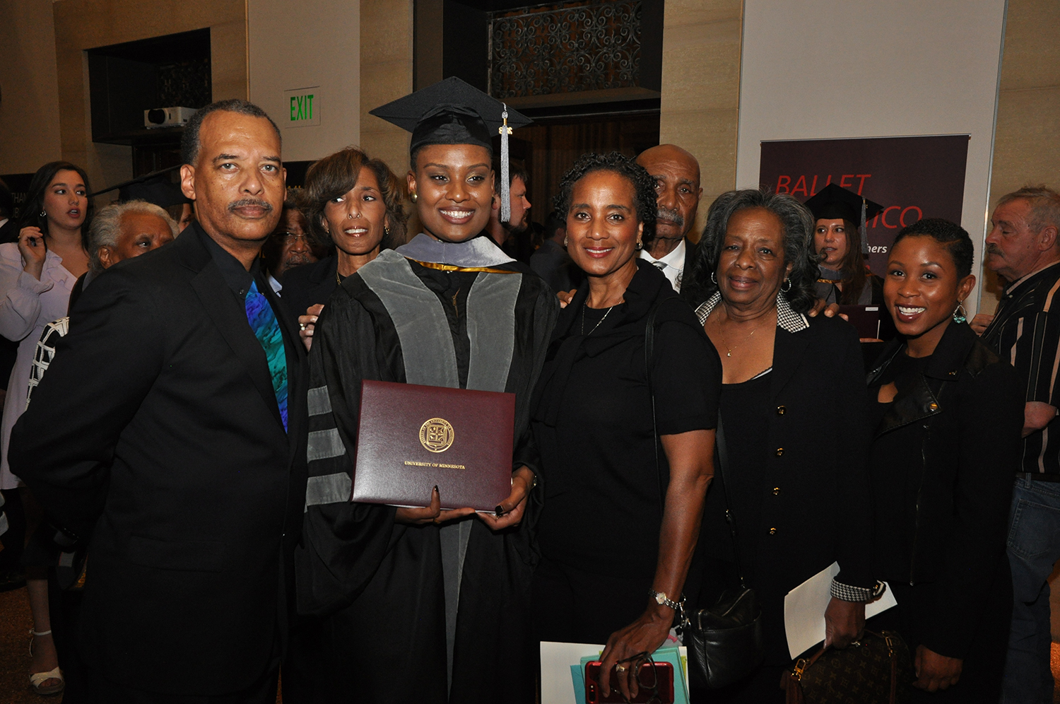 miranda shaw and her family at commencement