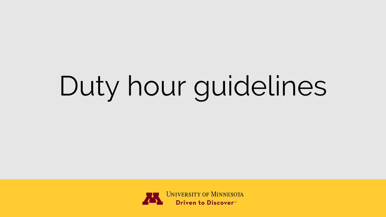 Duty hour guidelines