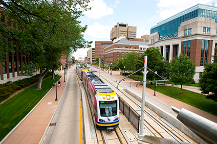 Green line running through the East Bank of U of M campus