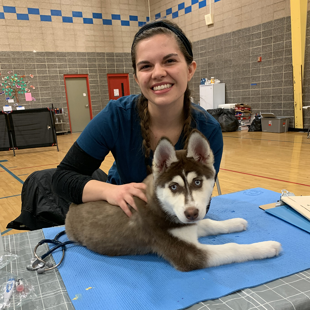 A student with a huskey puppy