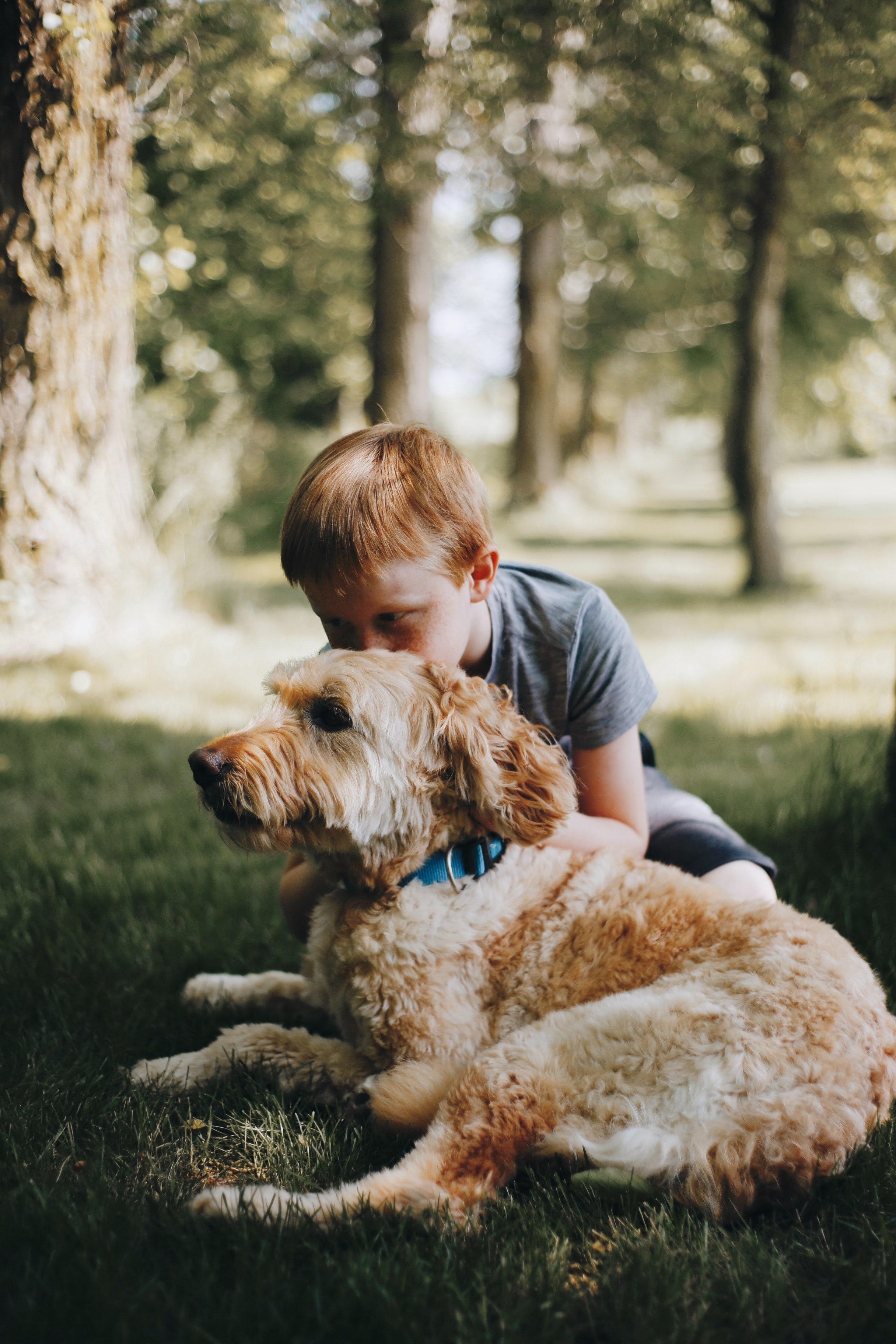A red headed boy kisses the top of his dog's head.