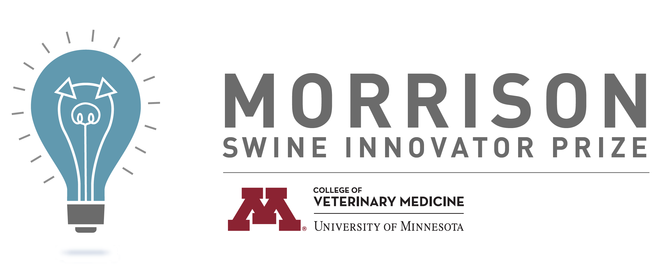 Logo of the Morrison Swine Innovator Prize, blue lightbulb with the shape of a pig in it