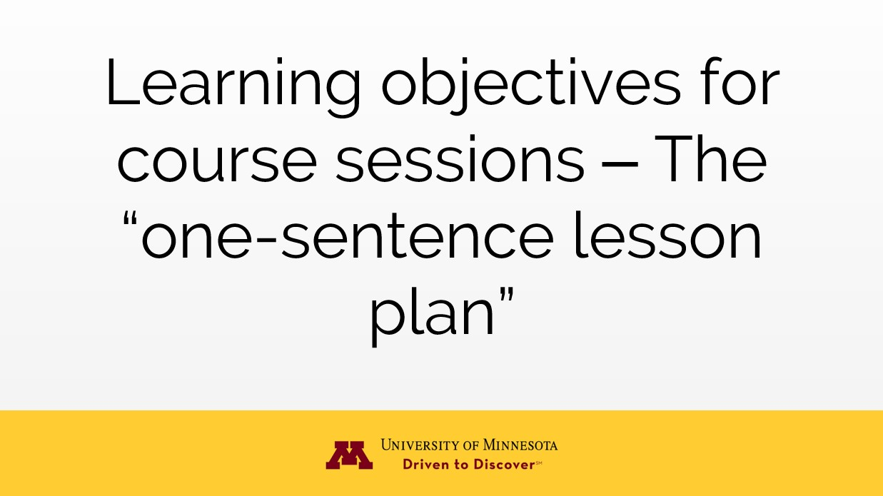 one-sentence lesson plan
