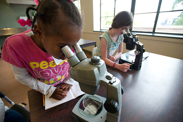 kids using microscopes