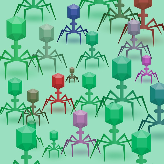 A series of illustrated, multicolored bacteriophage against a green backdrop